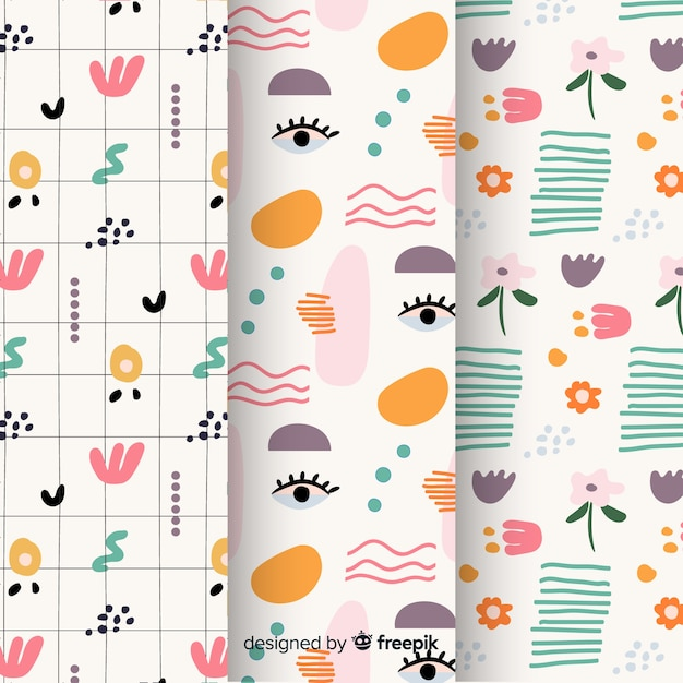 Hand drawn abstract pattern set Free Vector