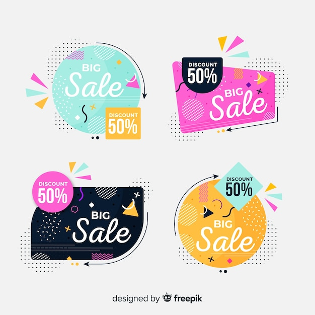 Hand drawn abstract sale banner collection Free Vector