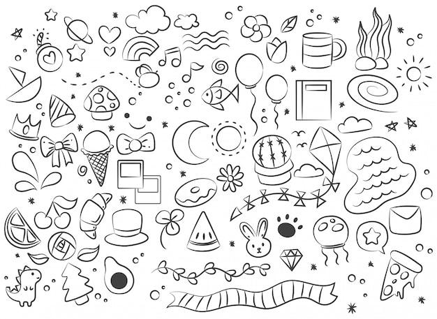 Рисованной абстрактный каракули каракули Premium векторы