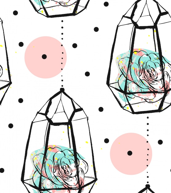 Hand drawn  abstract seamless pattern with rough terrarium,polka dots texture and succulent plants in pastel colors  on white bakground. for decoration,fashion,fabric,wrapping. Premium Vector