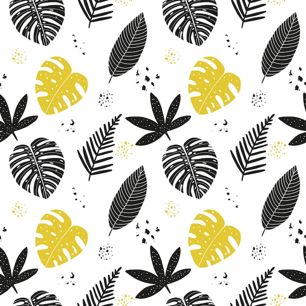 Hand drawn abstract seamless pattern with tropical leaves. Premium Vector
