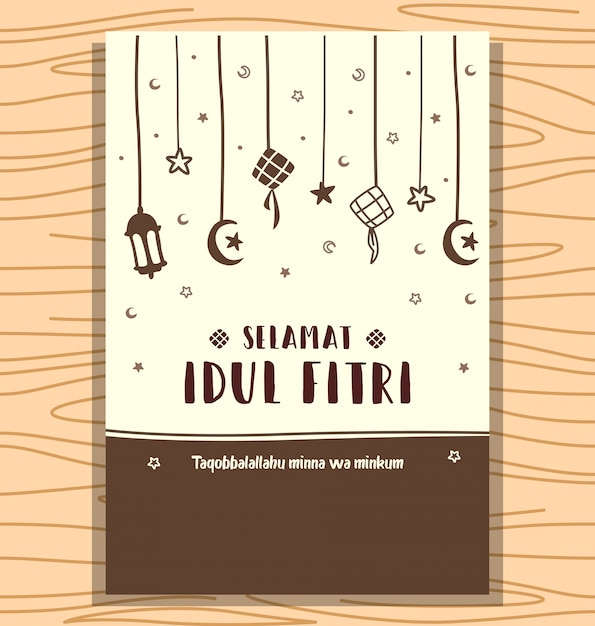 Hand Drawn Abstract Selamat Idul Fitri Eid Background