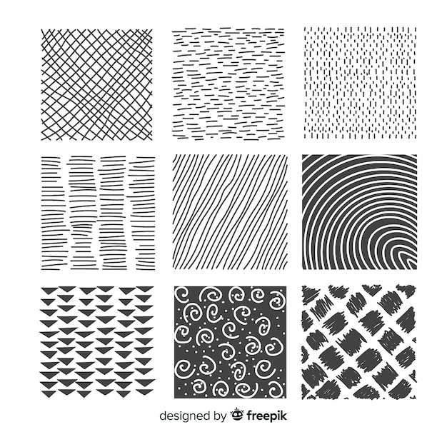 Hand drawn abstract shape pattern collection Free Vector