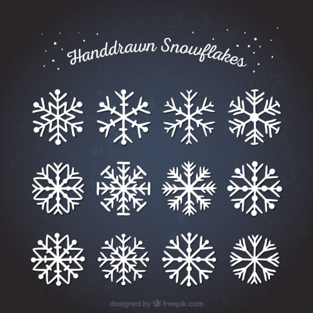 Hand drawn abstract snowflakes vector free download