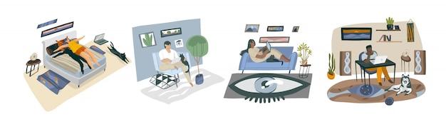 白い背景の上の若いホームフリーランサーの人々が働いて、自宅で勉強の若い幸せな多民族コレクションセットで抽象的なストックグラフィックイラストを手描き Premiumベクター