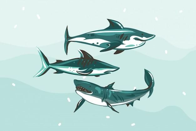 Ручной обращается абстрактные иллюстрации складе с подводной плавание акула рисунок набор на синем фоне цвета Premium векторы