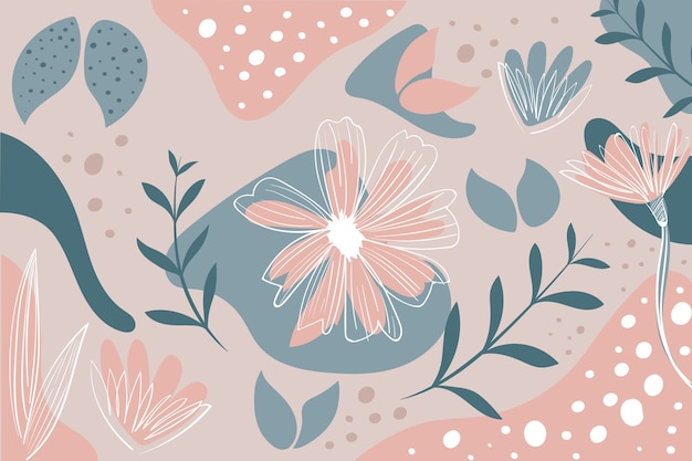 Hand drawn abstract wallpaper with organic shapes Free Vector