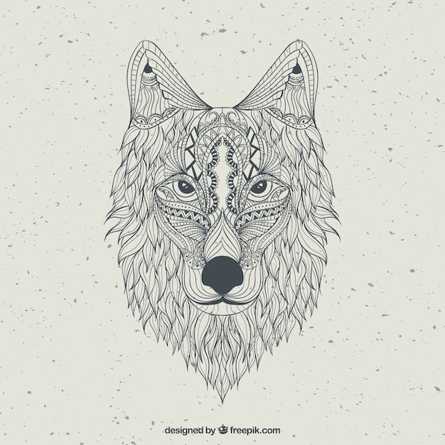 Hand Drawn Abstract Wolf Vector Premium Download