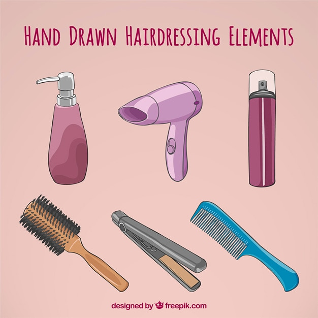 Hand drawn accessories for hairdressing Free Vector