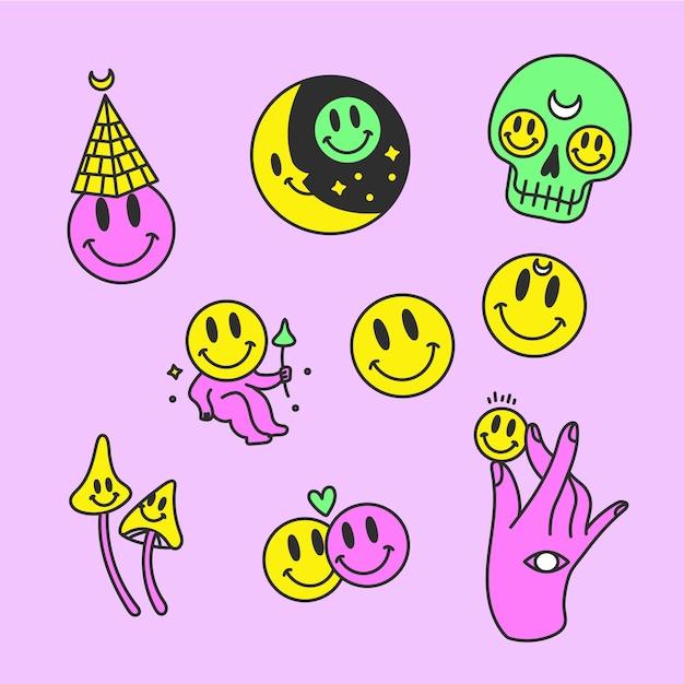 Смешные стикеры рисованной кислотной краски Бесплатные векторы