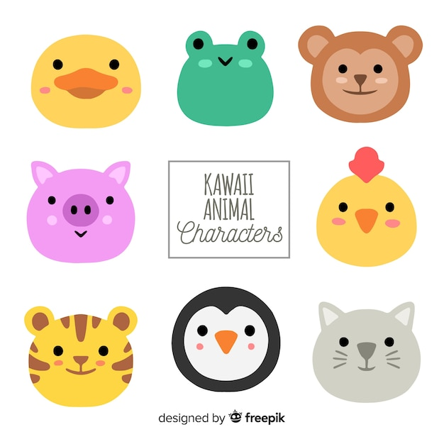 Hand drawn adorable animals collection Free Vector