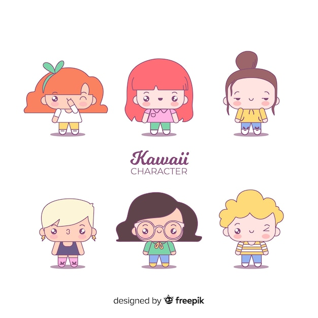 Hand drawn adorable character collection Free Vector