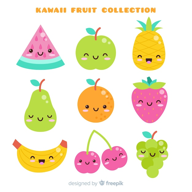 Hand drawn adorable food collection Free Vector