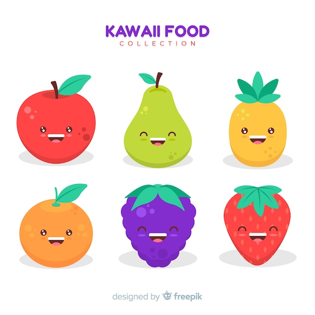 Hand drawn adorable fruit collection Free Vector