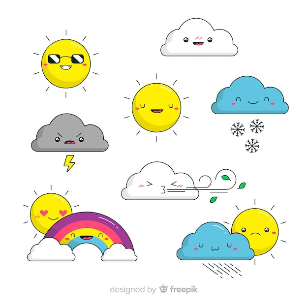 Hand drawn adorable sky elements collection Free Vector