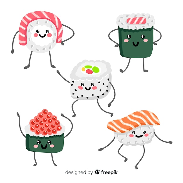 Hand drawn adorable sushi collection Free Vector