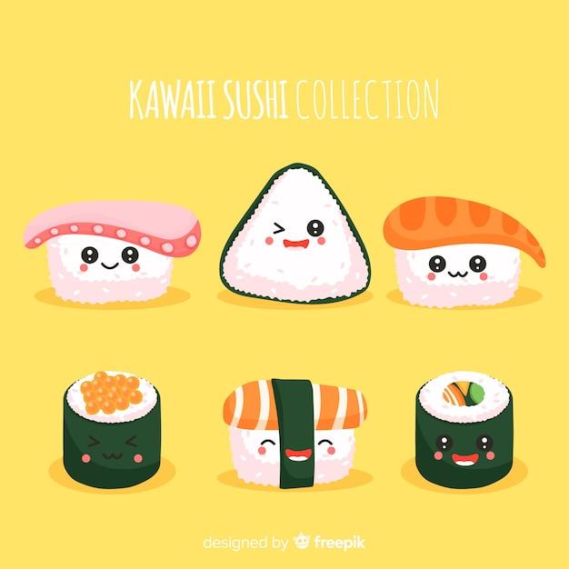 手描きのかわいいお寿司コレクション 無料ベクター