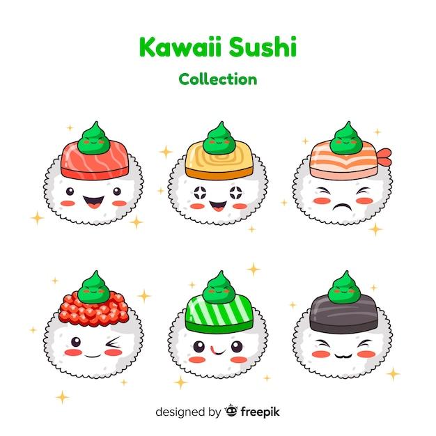 わさびコレクションの手描き可愛い寿司 無料ベクター