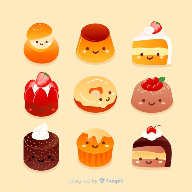 Hand drawn adorable sweet food collection Free Vector