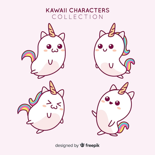 Hand drawn adorable unicorns collection Free Vector