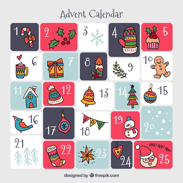Hand drawn advent calendar in grey, pink and blue