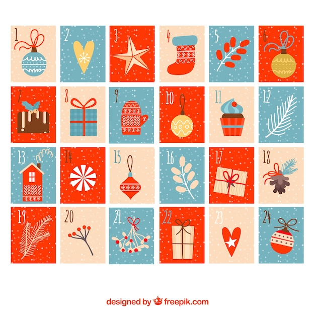 Hand drawn advent calendar in tones of blue, red and beige Free Vector