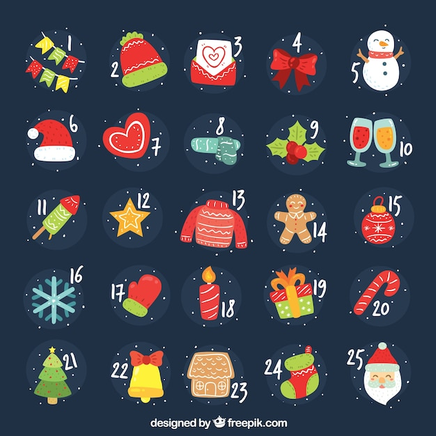 Hand drawn advent calendar with christmas characters and elements