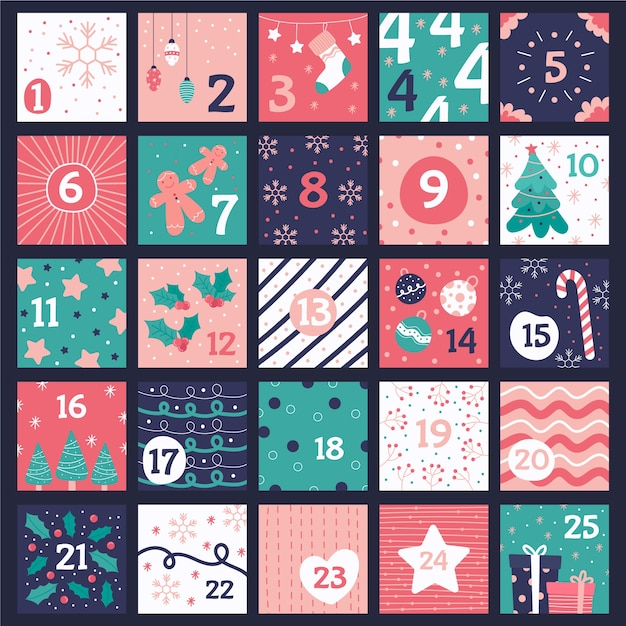 Hand drawn advent calendar Free Vector