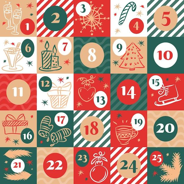 Hand drawn advent calendar Premium Vector