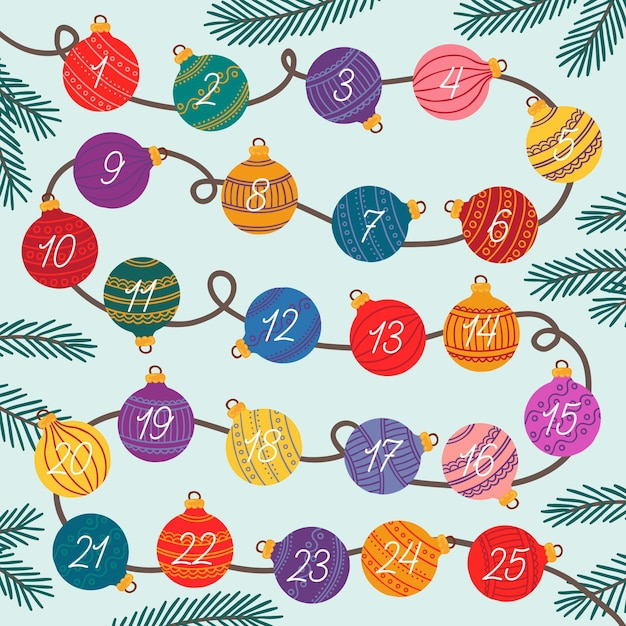Hand drawn advent calendar Free Vector