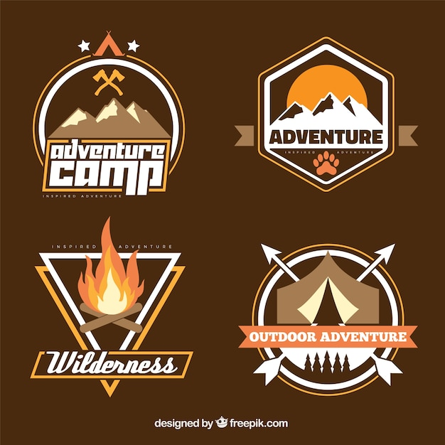 Hand drawn adventure badge collection in brown\ tones
