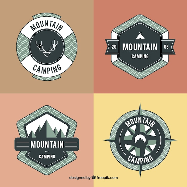 Hand drawn adventure badges in the\ nature