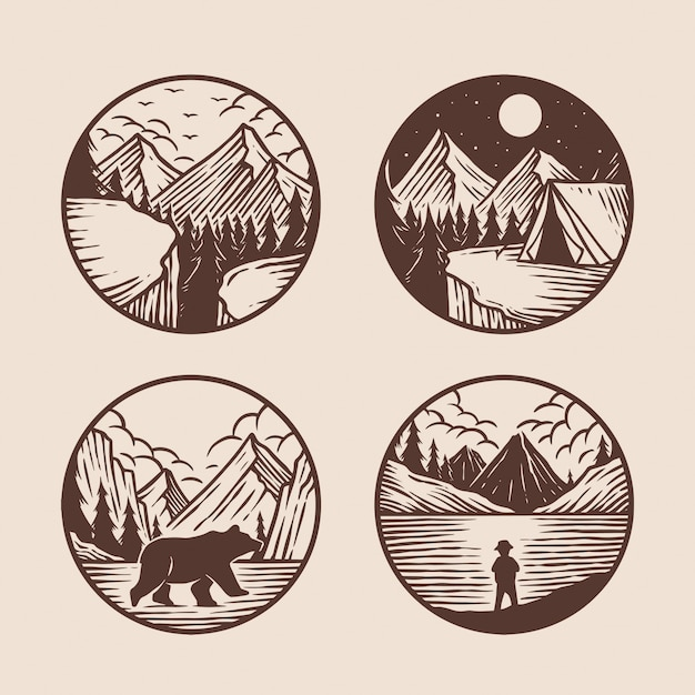 Hand drawn of adventure logo collection Premium Vector