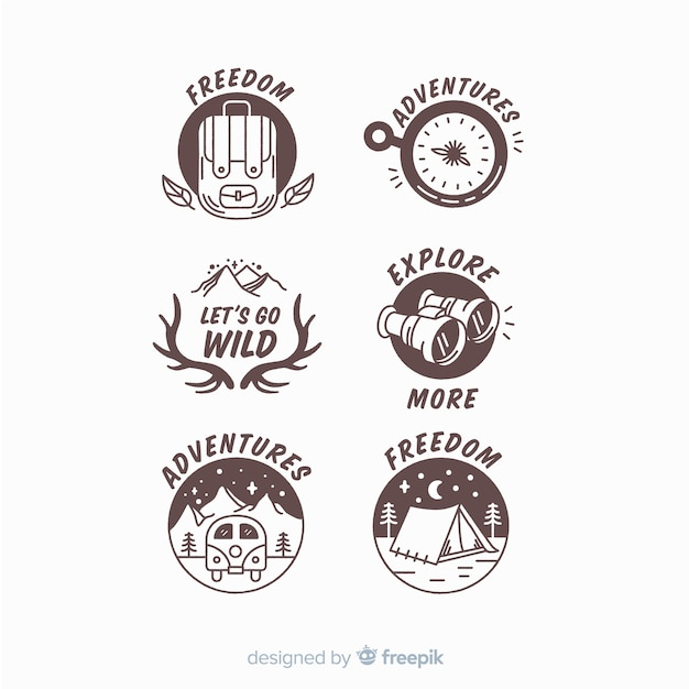 Hand drawn adventure logo collection Free Vector