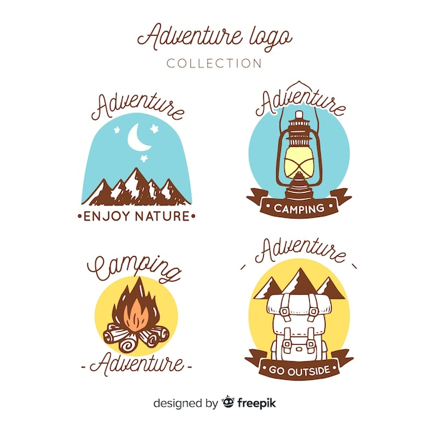 Hand drawn adventure logos collection Free Vector