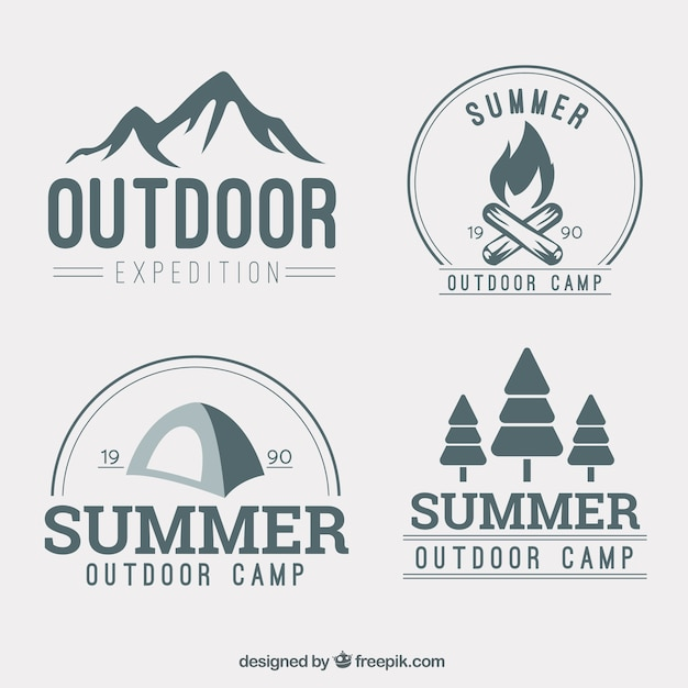 Hand drawn adventure logotype collection Free Vector
