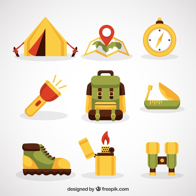 Hand drawn adventure object collection Free Vector