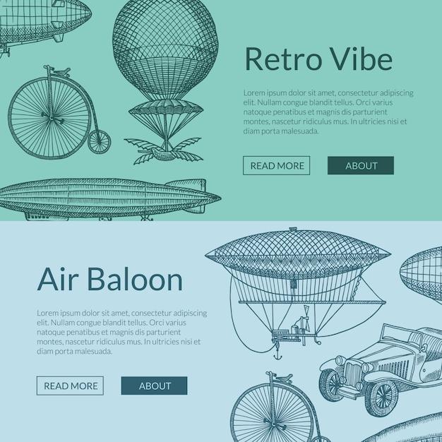 Hand drawn airships, bicycles and cars Premium Vector