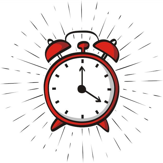 Hand drawn alarm clock isolated on sunburst background Premium Vector