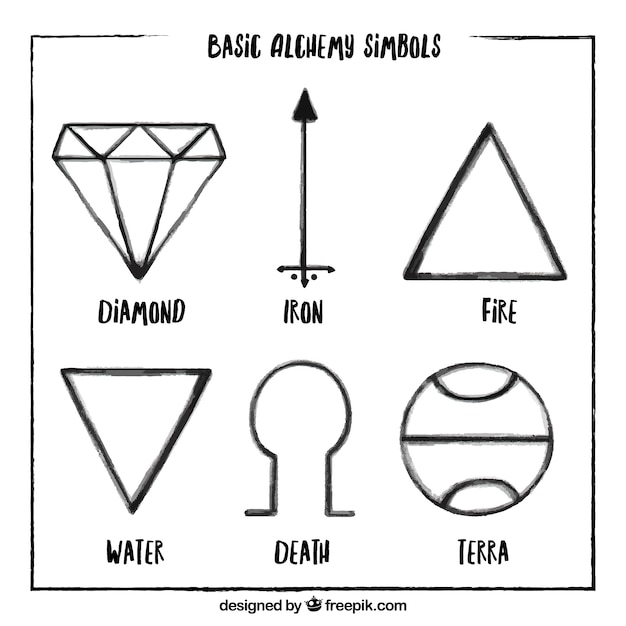 Hand Drawn Alchemy Symbol Collection Vector Premium Download