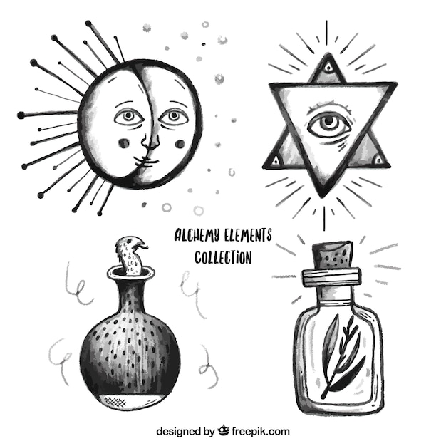 Hand Drawn Alchemy Symbols Pack Vector Free Download