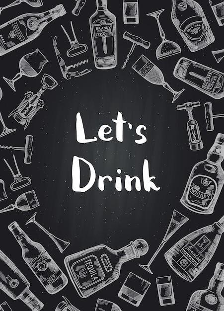 Hand drawn alcohol drink bottles and glasses background on black chalkboard illustration Premium Vector