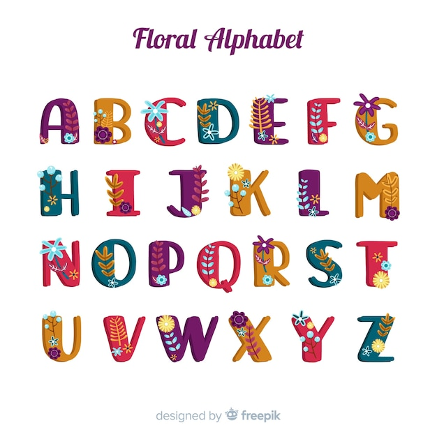 Hand drawn alphabet with flowers Free Vector