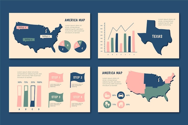 Hand-drawn america map infographic Free Vector