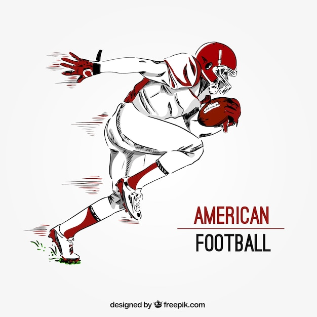 Hand Drawn American Football Player Background Vector