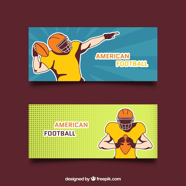 Hand drawn american football players\ banners