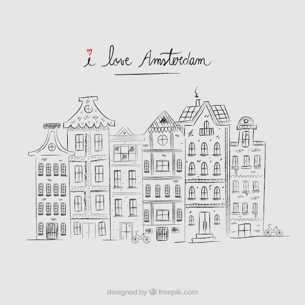 Hand drawn amsterdam houses background Free Vector