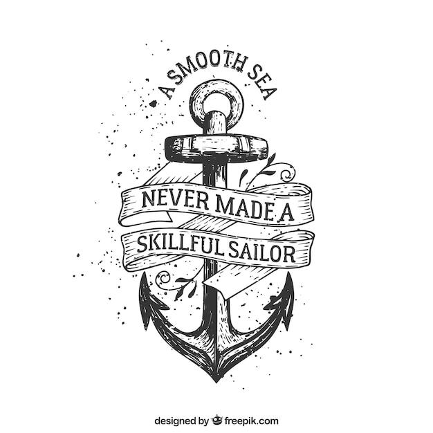 Hand drawn anchor badge Free Vector