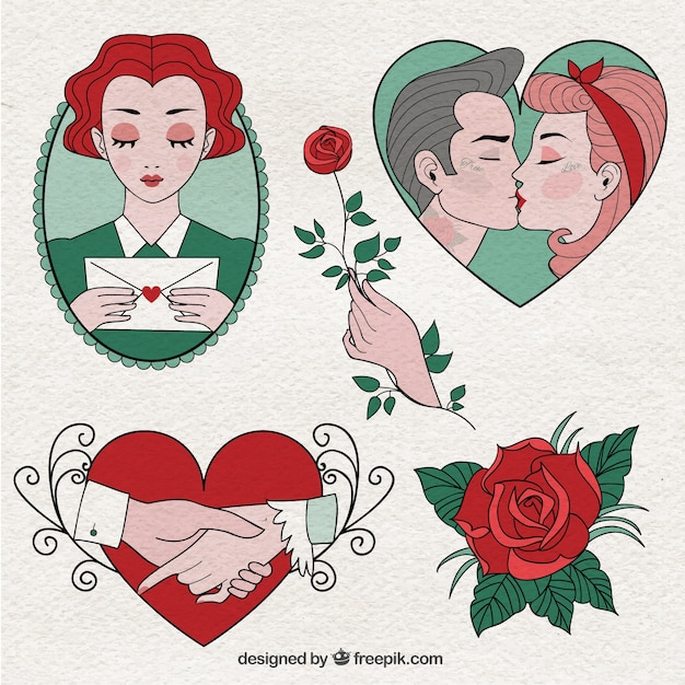 Hand Drawn And Beautiful Valentine Day Drawings Vector Free Download
