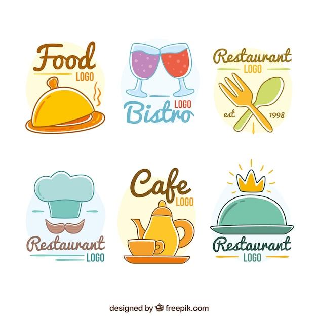 Hand drawn and fun restaurant logotypes